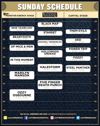 Monster Energy Aftershock Sunday performance schedule