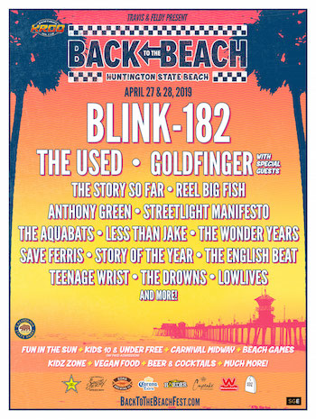 KROQ, Travis + Feldy Present Back To The Beach flyer with band lineup & show details
