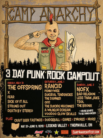 Camp Anarchy flyer with band lineup and festival details