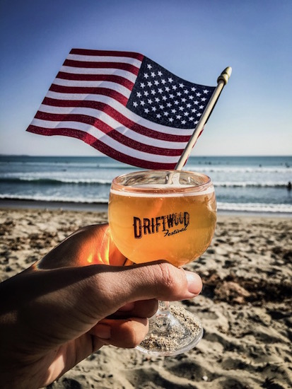Driftwood tasting cup and American flag