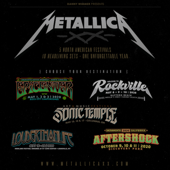 Metallica: Epicenter, Welcome To Rockville, Sonic Temple Art + Music Festival, Louder Than Life, Aftershock