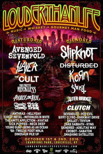 LOUDER THAN LIFE flyer with band lineup and venue details