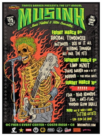 MUSINK flyer with band lineup and venue details. Image of a green-haired punk rock skeleton playing guitar and singing, surrounded by hot rod flames