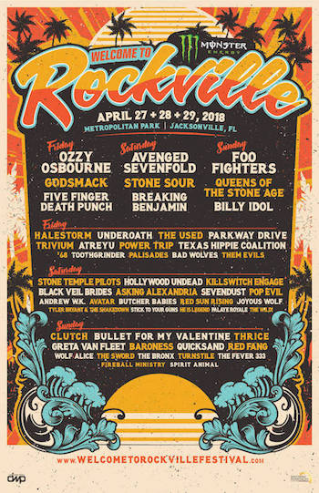Monster Energy Welcome To Rockville flyer with band lineup & venue details