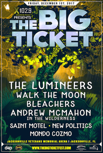 X102.9 Presents The Big Ticket flyer with band lineup and venue details