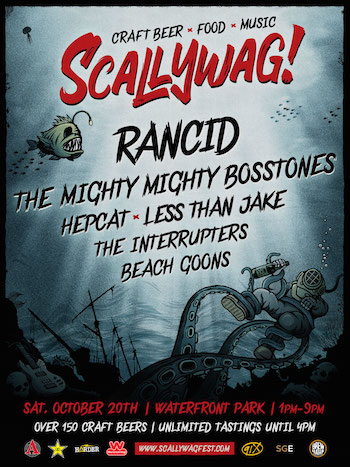 Scallywag! flyer with band lineup and venue details