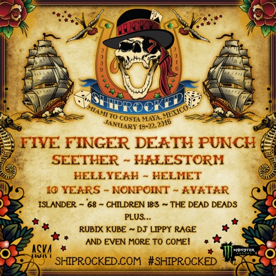 ShipRocked flyer with dates and initial band lineup