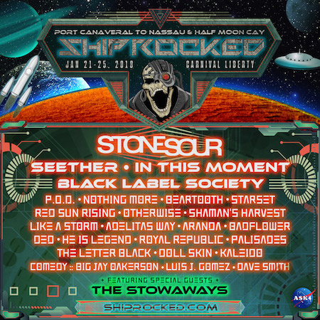 ShipRocked 2018 flyer with band lineup and cruise details