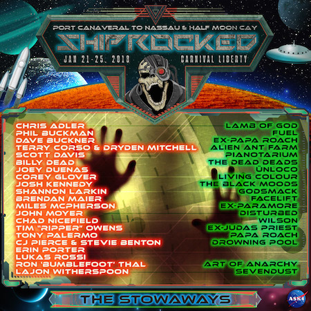 Full band roster for The Stowaways on ShipRocked 2018